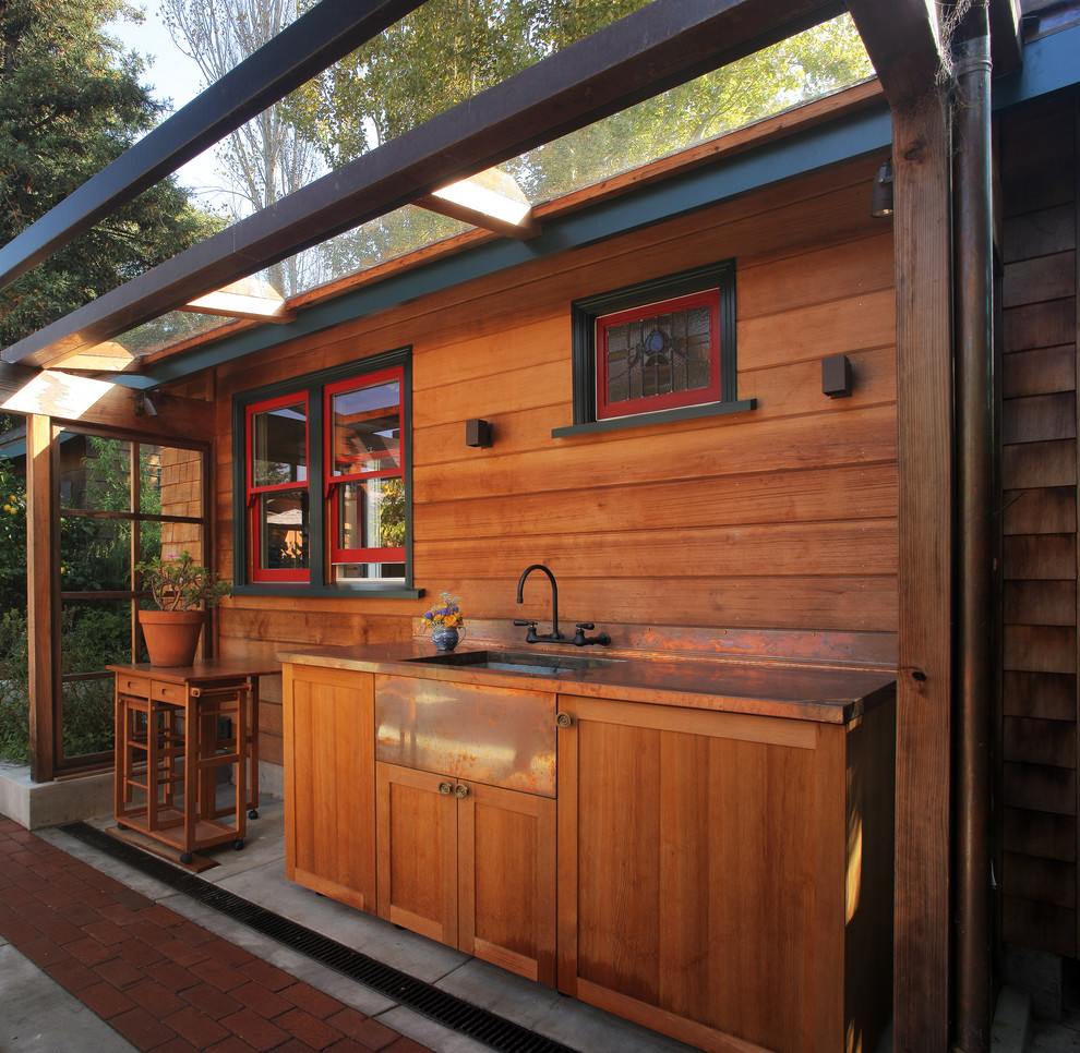Inspiration for a small rustic patio remodel in San Francisco