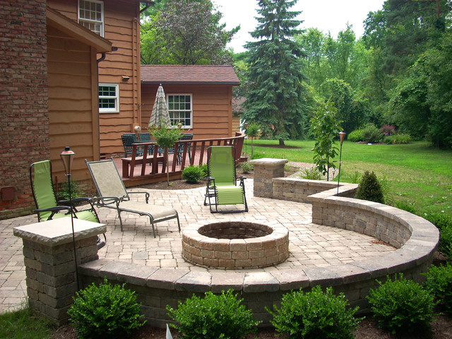 Backyard fire pit traditional patio cleveland by for Outside ideas landscaping