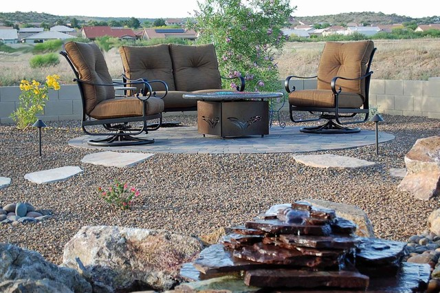 Backyard Fire Pit Table in Desert Traditional Patio Denver