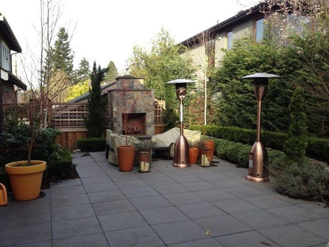 Backyard fireplace and kitchen contemporary-patio
