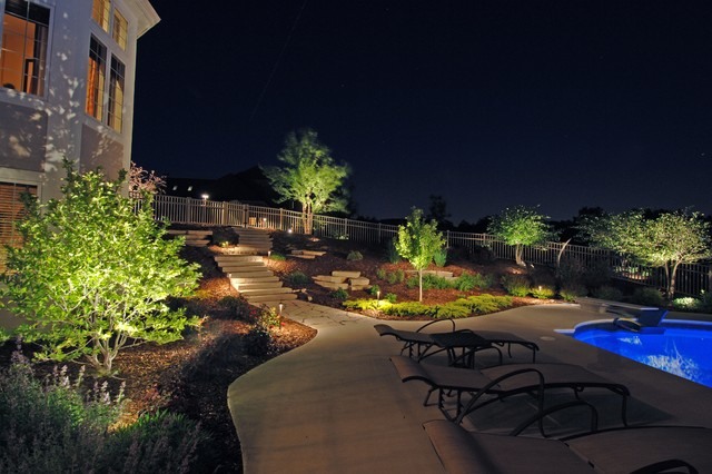 Outdoor Landscape Lighting Examples : Backyard lighting examples traditional patio
