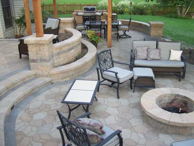 Backyard patio traditional patio chicago by american bluegrass landscaping inc - Pool patio design ideas vacation backyard ...