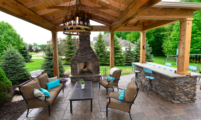 Backyard patio amp pavilion rustic patio cleveland by the ohio valley group inc