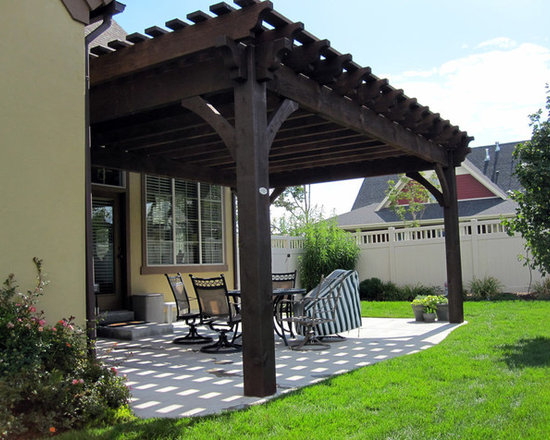 Ashley Residence Pergola Project - In just a few hours the timber frame pergola kit was installed over the back patio.