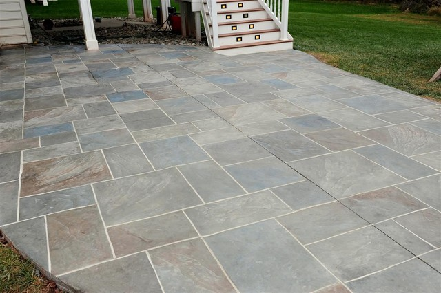 Backyard Patio With Multi Color Amp Grouted Stamped Concrete