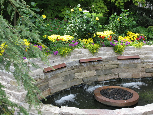... Garden Design With Backyard Patio With Water Feature Traditional Patio  With Fire Pit In Backyard From