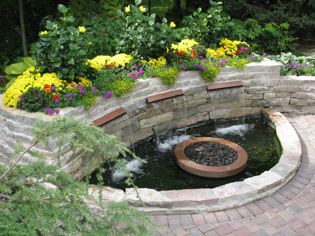 garden design with backyard patio with water feature traditional patio with foliage garden from houzz