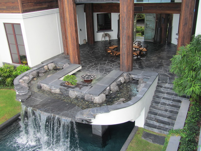 Garden Design With Backyard Patios And Pool Waterfall, Water Feature And  Fire Pit In With