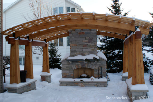 Backyard Pergola And Fireplace