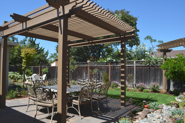 Backyard pergola shade structures traditional patio for Shade structures