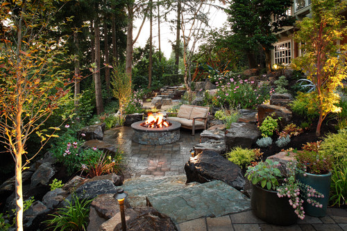 Traditional Patio by Redmond Landscape Architects & Landscape Designers Alderwood Landscape Architecture and Construction
