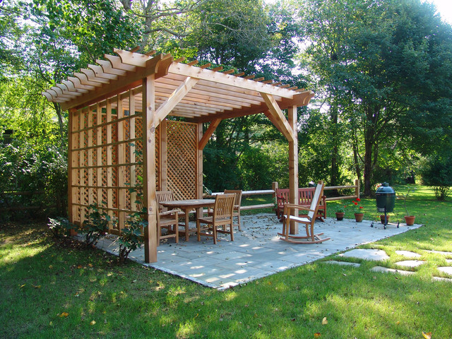 Vertical Garden Design With Gazebo Installation Inspiration for a mid-sized timeless backyard stone patio vertical garden  remodel in Providence with