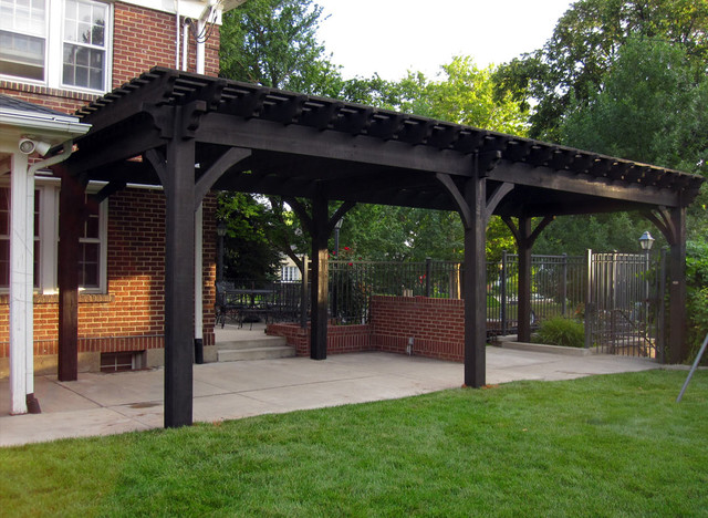 Backyard Shade with Over Size Timber Frame DIY Pergola Kit midcentury-patio - Backyard Shade With Over Size Timber Frame DIY Pergola Kit