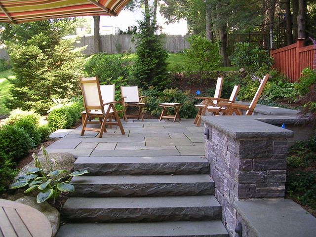 Backyard stone patio traditional patio boston by Backyard landscaping ideas with stones