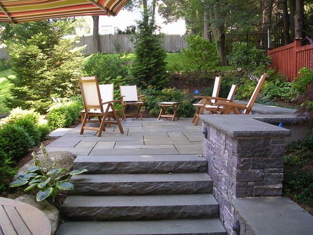 Backyard stone patio - Traditional - Patio - Boston - by Elliott ...