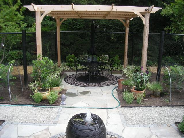 Backyard Terraced Vegetable Garden : Backyard Terrace and Vegetable Garden traditionalpatio