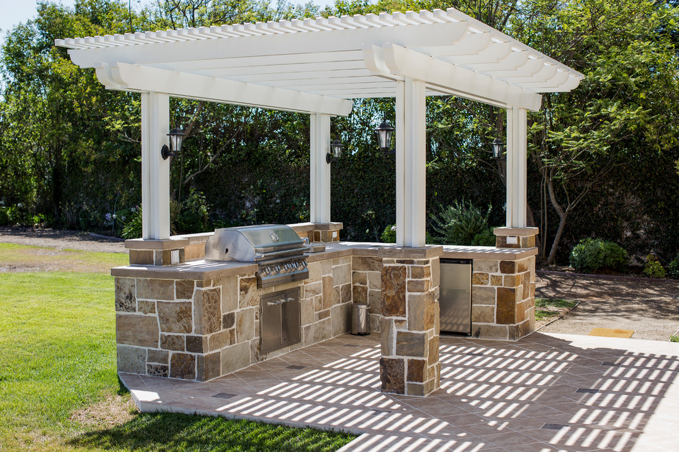 Backyard with BBQ Island and Outdoor Cooking Area in ... on Patio Grilling Area id=35981
