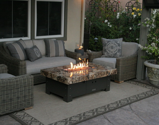 Balboa Fire Pit Table By COOKE Eclectic Patio Orange
