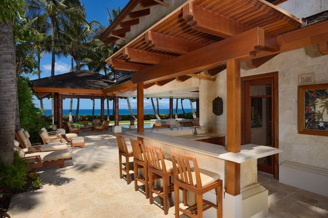 Bali house tropical patio hawaii by rick ryniak for Beach bar decorating ideas