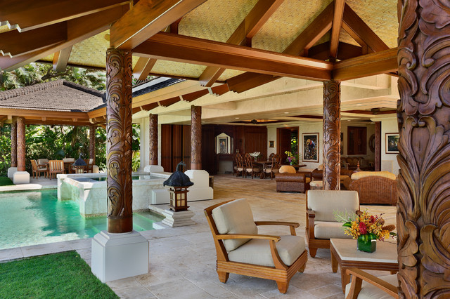 Superbe Example Of A Large Island Style Stone Patio Fountain Design In Hawaii With  A Gazebo
