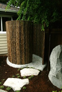 Bamboo Shower Asian Patio Seattle