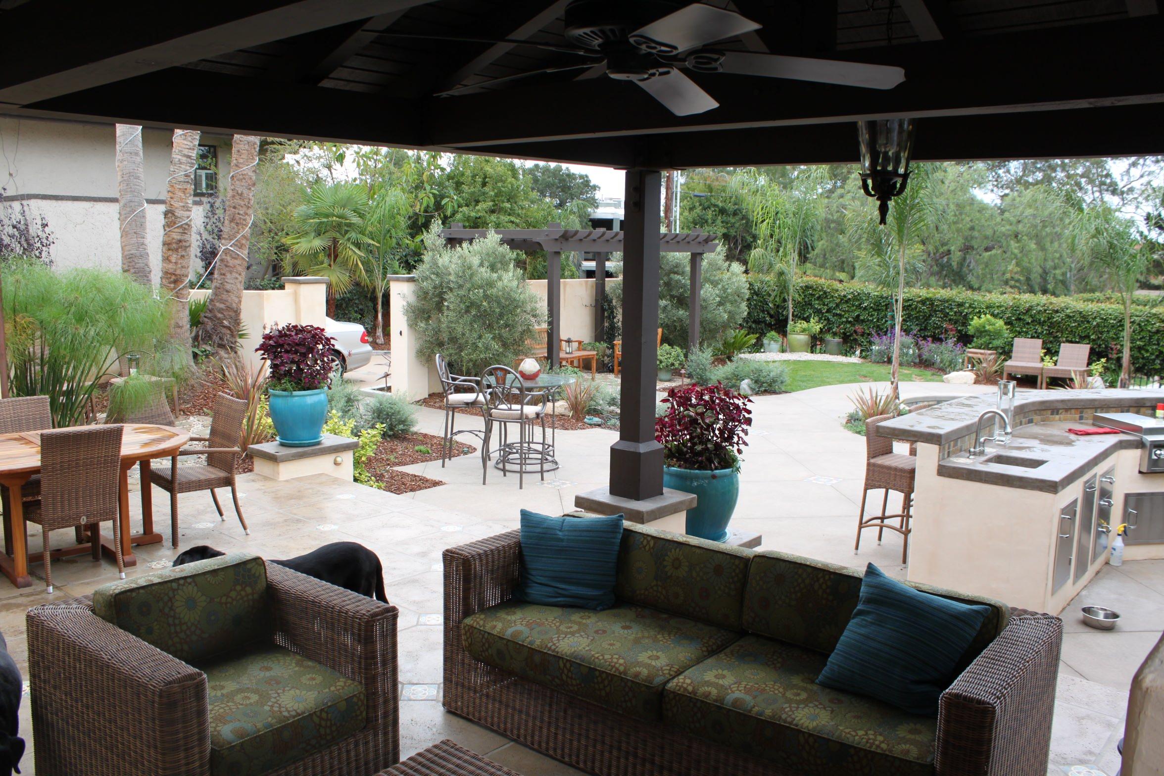 Cabana and Fireplace Lounge Area Overlooking Backyard