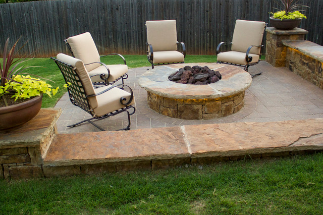 Baseball Diamond Shaped Patio With Fire Pit Patio Oklahoma City By Red Valley Landscape
