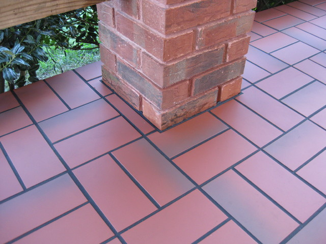 Basketweave With Quarry Tile Over Concrete Patio Traditional Patio