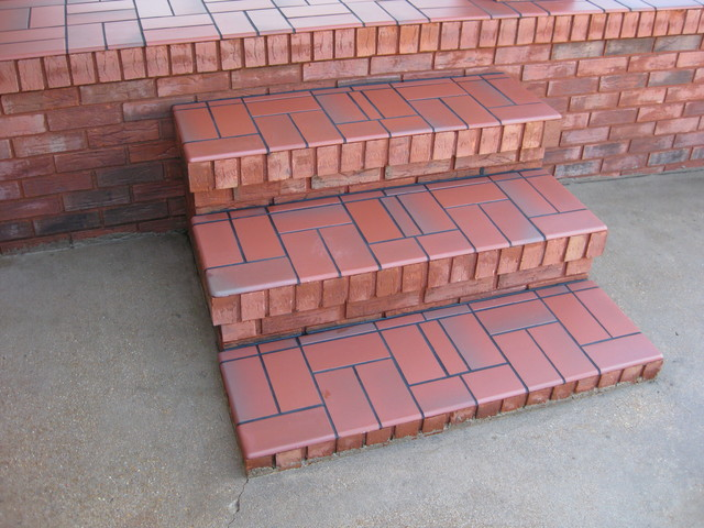 Basketweave With Quarry Tile Over Concrete Patio Traditional