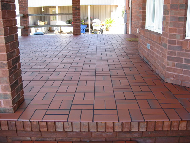 Basketweave with quarry tile over concrete patio - Outdoor flooring over concrete ...