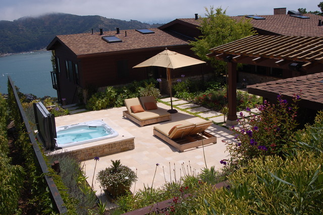 bay area hillside garden mediterranean patio - Spa Patio Ideas