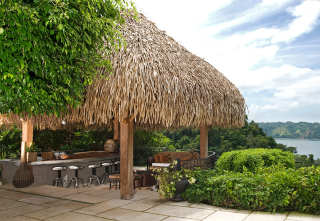 Wonderful Inspiration For A Tropical Patio Kitchen Remodel In Other With A Gazebo