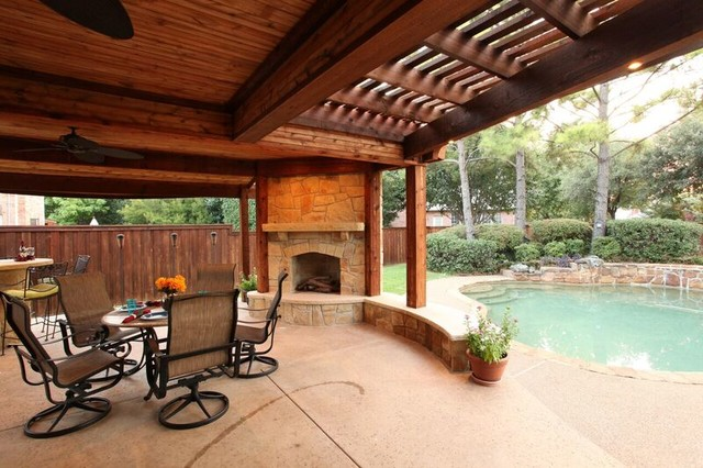 Beautiful Pavilion And Corner Fireplace Traditional Patio