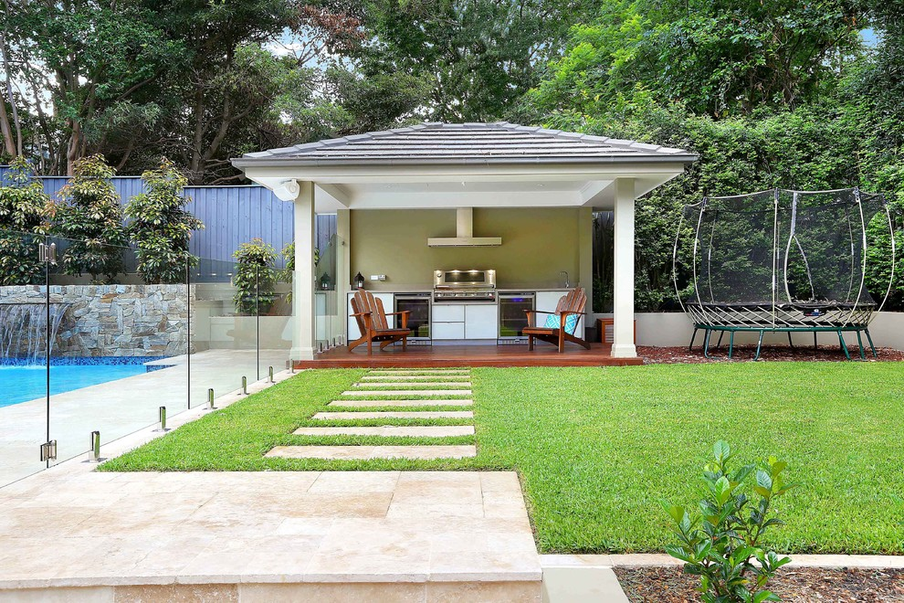 Patio kitchen - contemporary backyard patio kitchen idea in Other with a gazebo and decking