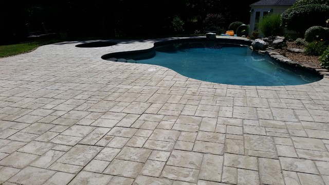 Before Picture of Stamped Concrete Pool Deck, Unsealed traditional-patio