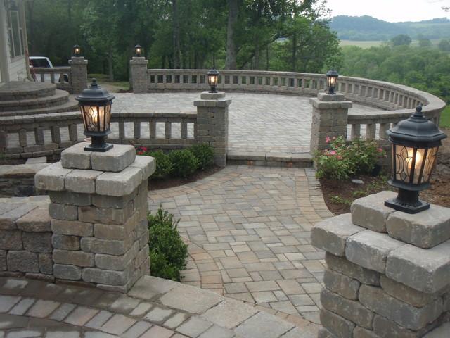 Belgard Patio With Custom Walls And Lighting Traditional Patio