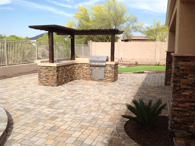 Patio - traditional patio idea in Phoenix - Belgard Pavers Back Yard Patio - Traditional - Patio - Phoenix - By