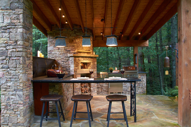Belly up to the outdoor bar rustic patio other by Rustic outdoor kitchen designs