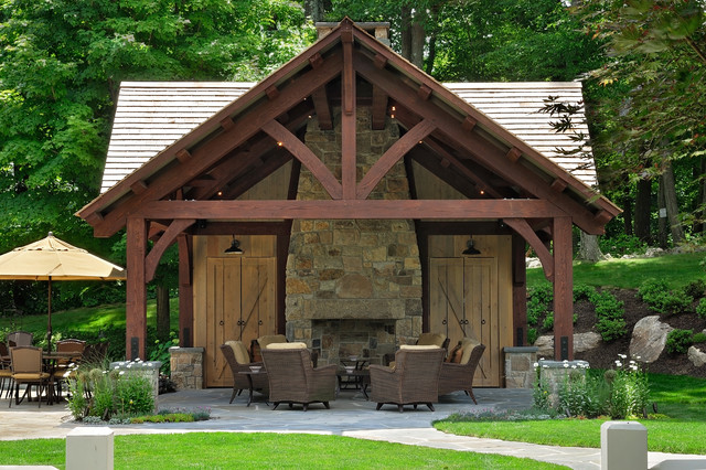 Bernardsville Pool House Rustic Patio New York By