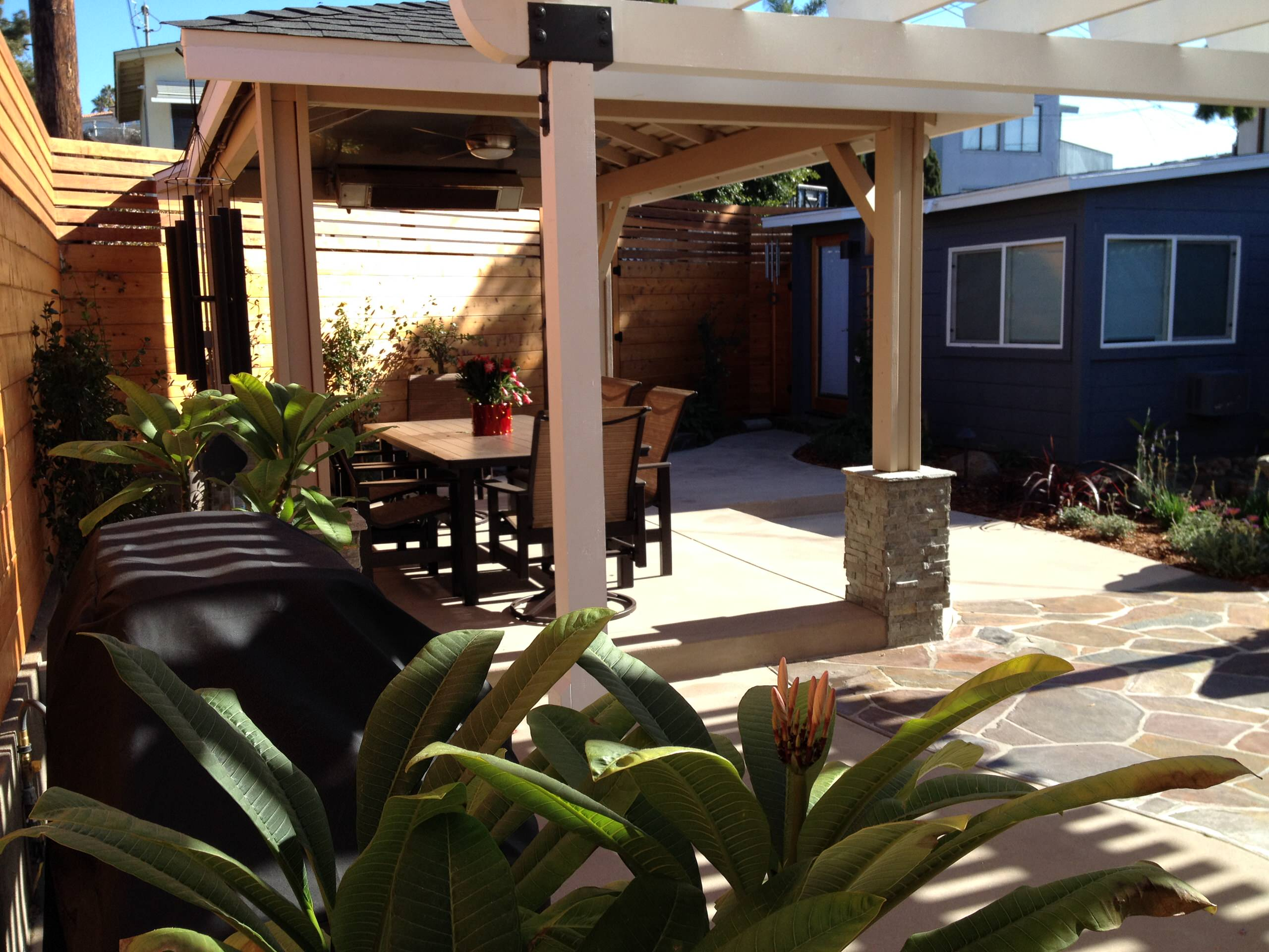 Pergola and Dining Area with Flagstone