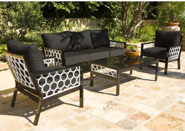 Black And White Outdoor Sofa Lounge Chair Table Contemporary Patio