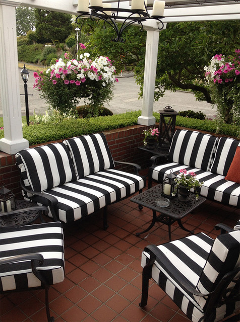 Black And White Striped Outdoor Furniture Cushions Traditional Patio Se