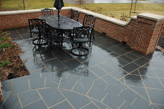 Black Slate Patter : Black slate paving patterns terrace traditional