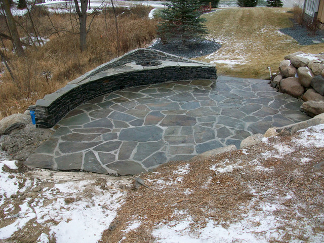 Blue stone patio and fireplace modern-patio
