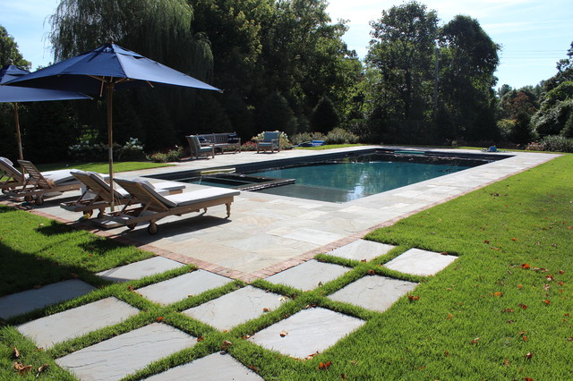 Blue Stone Pool Patio Modern Patio New York By