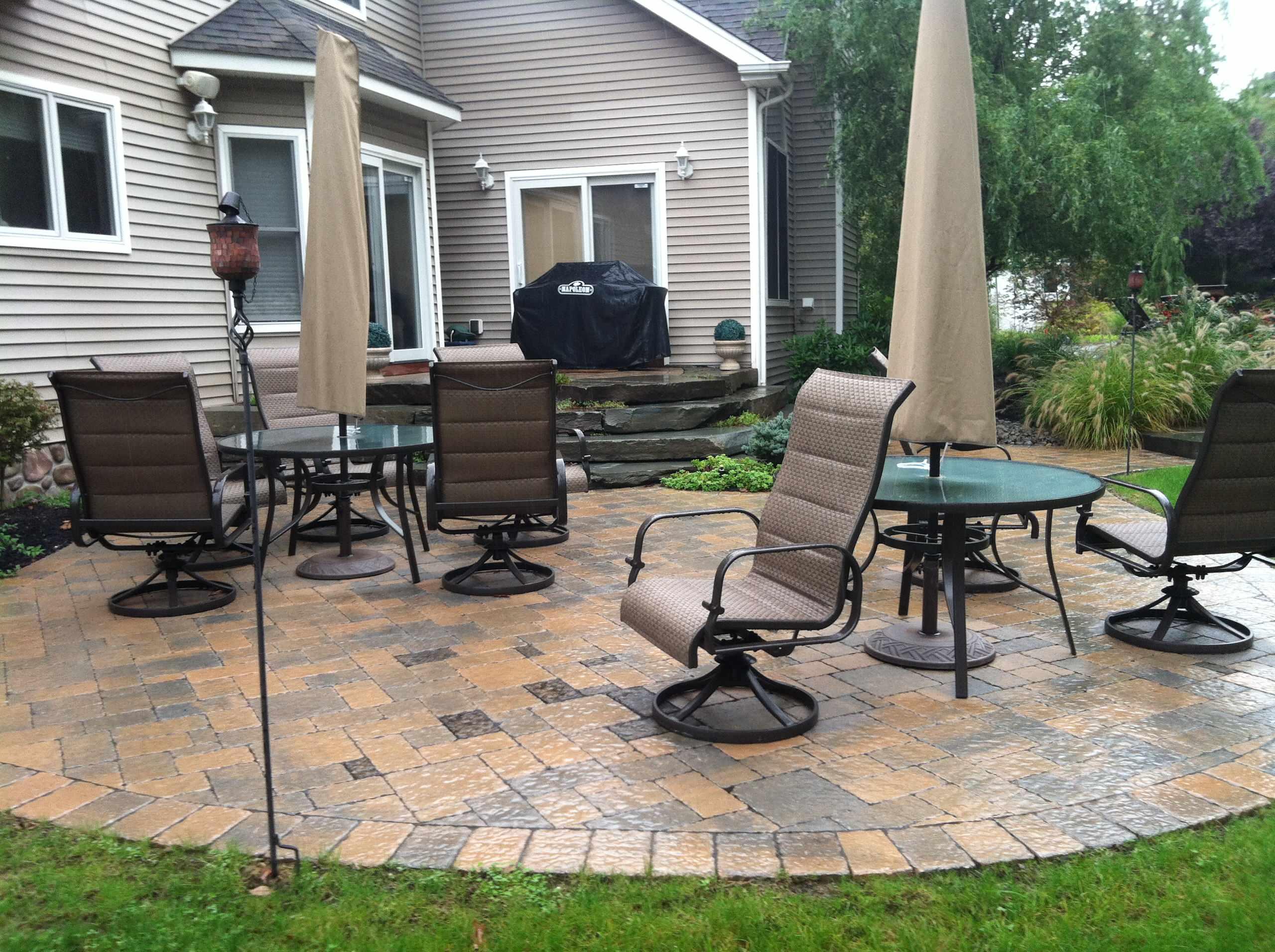 blue stone stepper patio plus firepit sitting patio