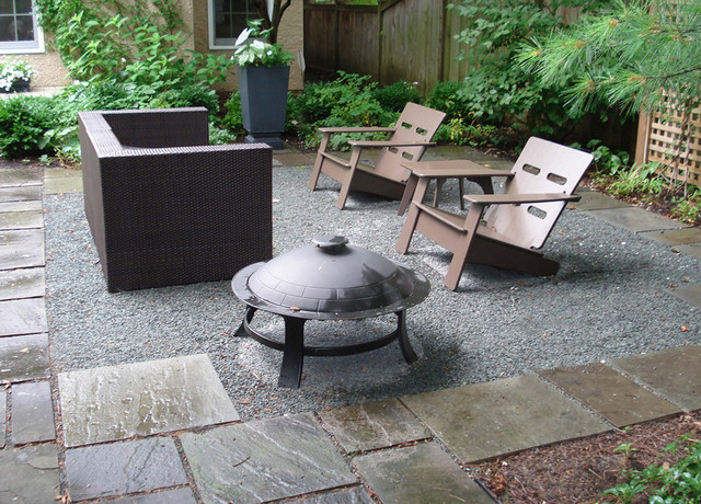 Garden Furniture On Gravel bluestone and gravel patio | houzz