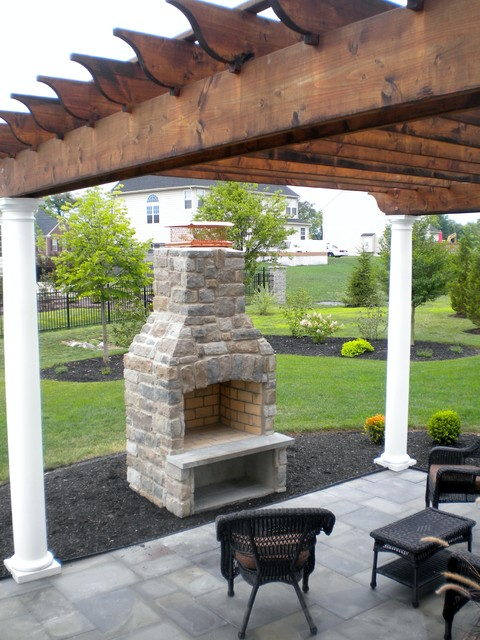 Bluestone Patio In Mechanicsburg Pa With Pergola Steps And Outdoor Fireplace Traditional
