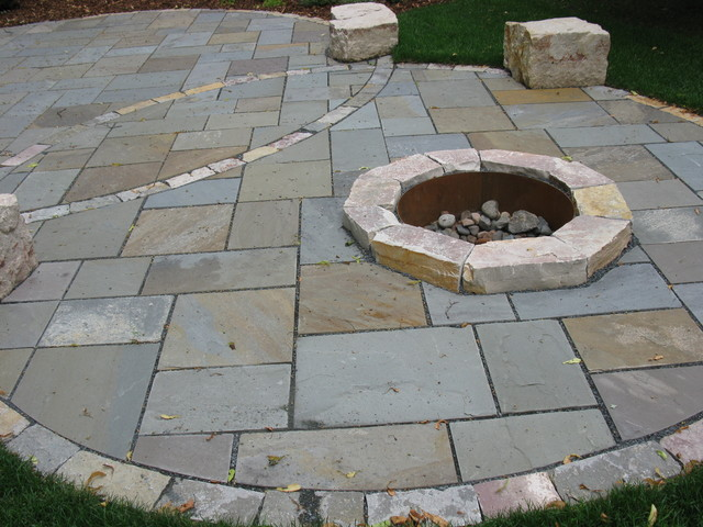 Bluestone Patio with Fire Pit - Contemporary - Patio - minneapolis - by Mike Porwoll - Bachman's ...