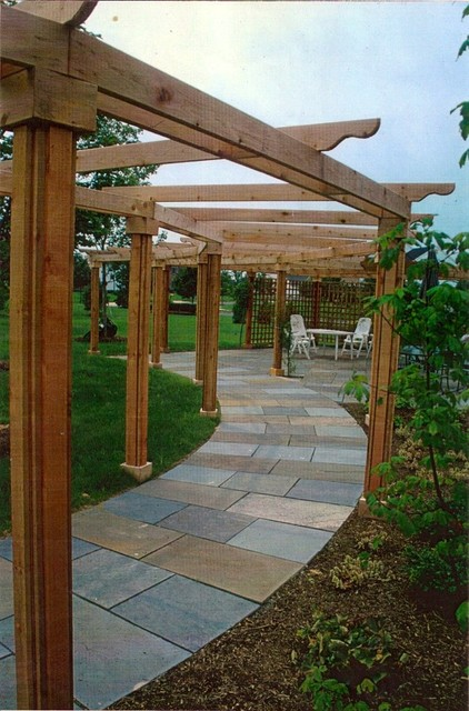 Bluestone Walkway Terrace Amp Cedar Pergola Traditional